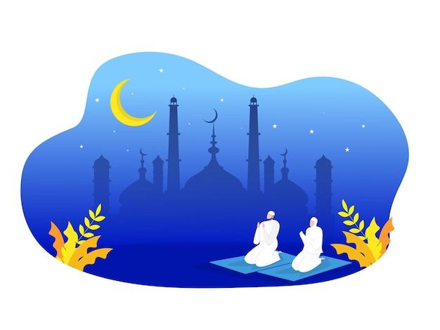 Religiöses muslimisches gebet in traditioneller kleidung in voller länge vertikal in der moschee
