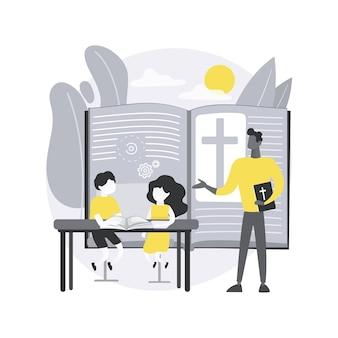 Religiöses sommerlager. glaubensbasiertes lager, religionsunterricht, christlicher glaube, bibelstudium, gebetszeit, andachtsbuch, spirituelle ausbildung.