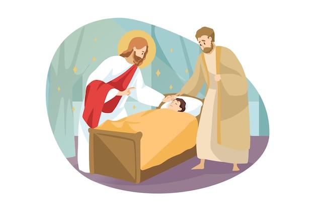 Religion, bibel, christentumskonzept. jesus christus, der sohn gottes, der biblische charakter des messias-propheten, macht die wundersame heilung eines kranken, kranken kindes durch berühren. göttliche hilfe und segenillustration.
