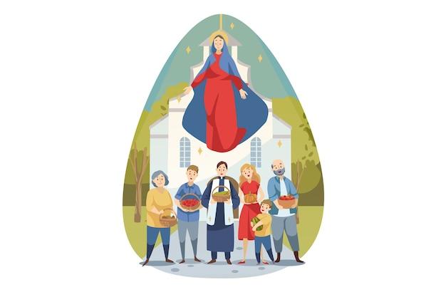 Religion, bibel, christentumskonzept. junge maria mutter von jesus christus, die sich um menschen kümmert, die christen mit lebensmittelgemüse pflegen. mariä himmelfahrt feier illustration.