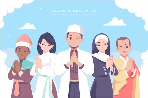 Religion der welt charakterdesign-kollektion