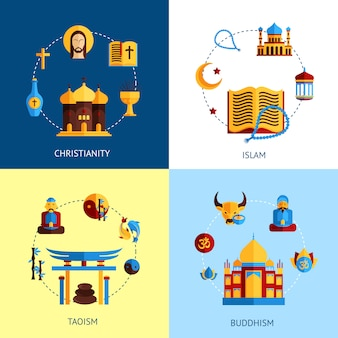 Religion-design-konzept-set