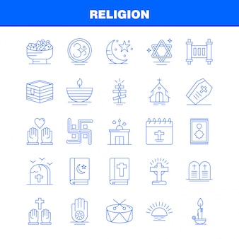 Religion linie icons set für infografiken, mobile ux / ui kit