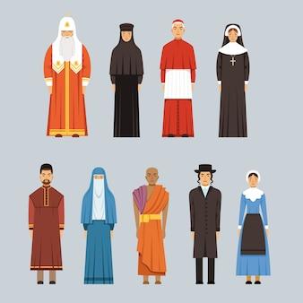 Religion menschen setzen, männer und frauen verschiedener religiöser bekenntnisse in traditioneller kleidung illustrationen