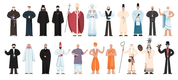Religion menschen tragen spezifische uniform. sammlung männlicher religiöser figuren. buddhistischer mönch, christliche priester, rabbiner, muslimischer mullah.