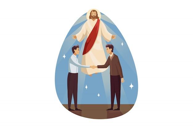 Religion, segen, unterstützung, geschäft, christentum, versammlungskonzept