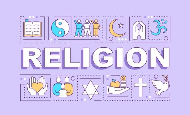 Religion wortkonzepte banner. spiritualität und glaube. religionsgemeinschaft. infografiken linear s auf violettem hintergrund. isolierte typografie. umriss rgb farbabbildung