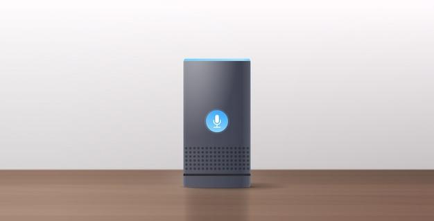 Relistischer intelligenter lautsprecher auf holztisch spracherkennung aktiviert digitale assistenten automatisiert befehlsbericht konzept flach horizontal