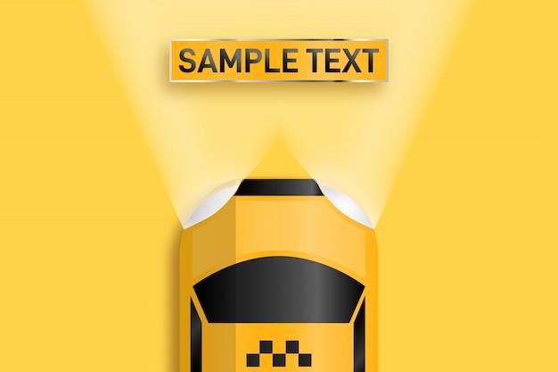 Relistisches visitenkartentaxi. platz für text, der von autoscheinwerfern beleuchtet wird.