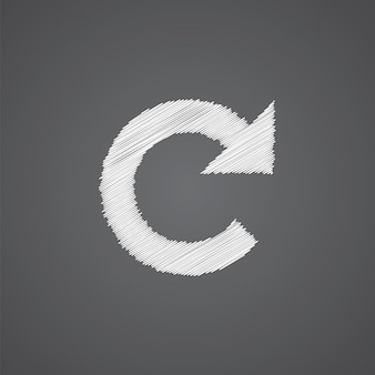 Reload-skizze-logo-doodle-symbol auf dunklem hintergrund isoliert