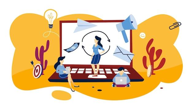 Remarketing-konzeptillustration. geschäftsstrategie oder kampagne zur umsatzsteigerung. idee der werbung und verkaufsförderung. illustration