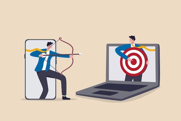 Remarketing oder behavioral retargeting in der digitalen werbung, online-anzeigen, die der zielgruppe über alle geräte hinweg folgen, geschäftsmann aus einer mobilen app, die auf das ziel abzielt, und andere computer-laptops. Premium Vektoren