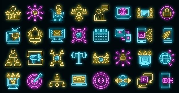 Remarketing-symbole festgelegt. umrisse von remarketing-vektorsymbolen neonfarbe auf schwarz