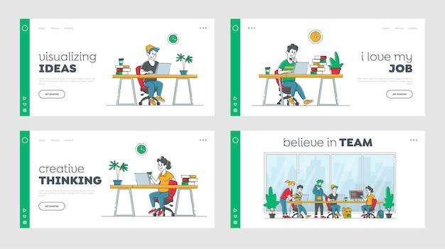Remote freelance work landing page vorlagen-set