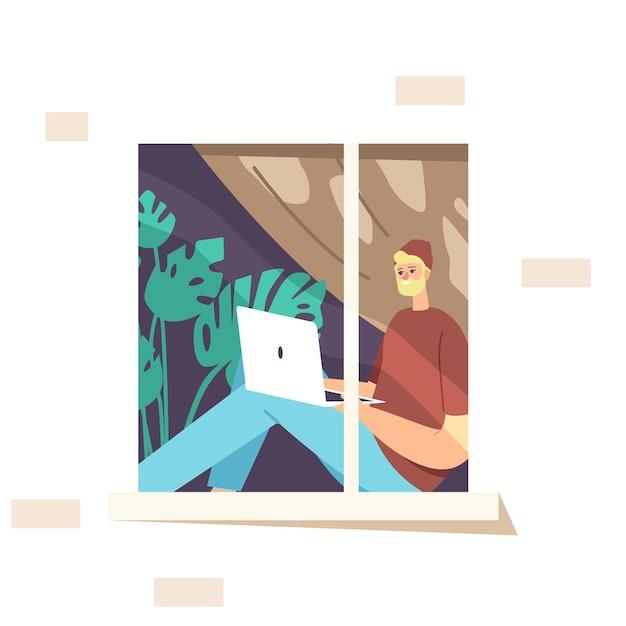 Remote-konzept für freiberufliche arbeit. mann-freiberufler, der hipster-kleidung trägt und an der fensterbank sitzt, die auf laptop entfernt arbeitet. kreative mitarbeiter-charakterarbeit zu hause. cartoon-menschen-vektor-illustration