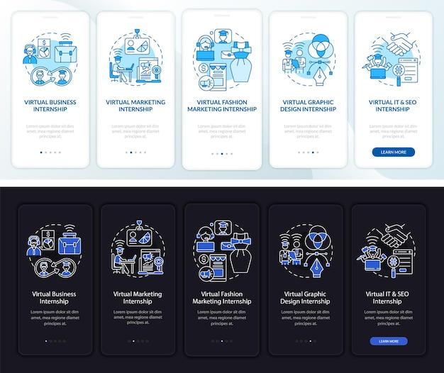 Remote-praktikumsbereiche beim onboarding der seite der mobilen app. business, it walkthrough 5 schritte grafische anweisungen mit konzepten. ui-, ux-, gui-vektorvorlage mit linearen nacht- und tagmodus-illustrationen mode