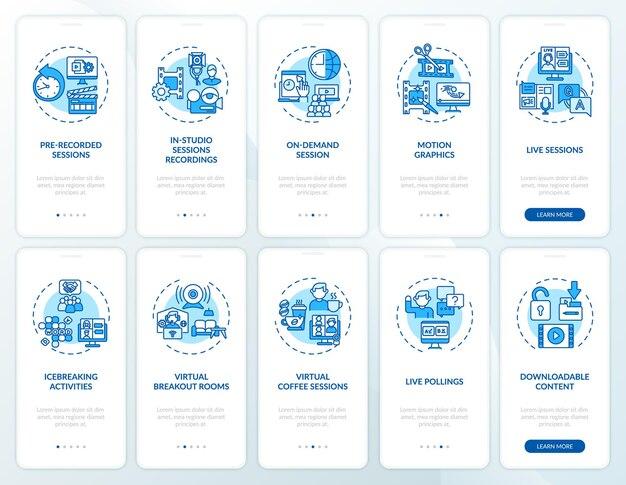 Remote-sitzungen auf dem bildschirm der mobilen app-seite mit festgelegten konzepten