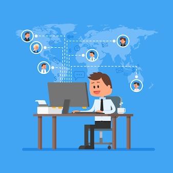 Remote-team arbeiten konzept vektor. arbeit von zu hause illustration im flachen stil design. remote business control und projektmanagement. freiberuflicher job. soziales netzwerk und internet-freunde-konzept.