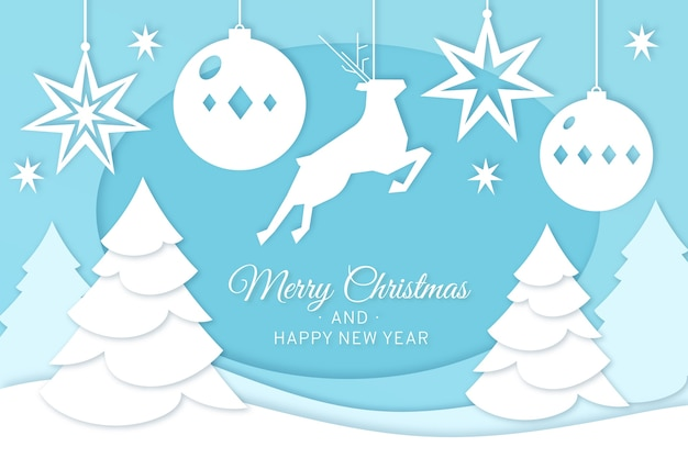 Ren der frohen weihnachten und weihnachtsbäume in der papierart