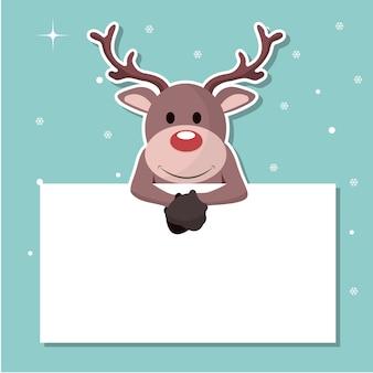 Ren-weihnachtskarte, die heraus auf einem zeichen haftet