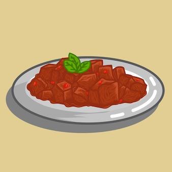 Rendang ist eines der besten indonesischen fleischgerichte mit würziger sauce und limettenblatt auf einem teller.