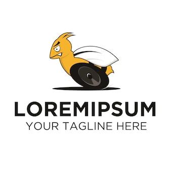 Rennbiene mit rädern logo vorlage