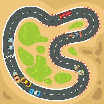 Renncomputer- und app-spielhintergrund mit sportwagen der draufsicht und rennstrecke.