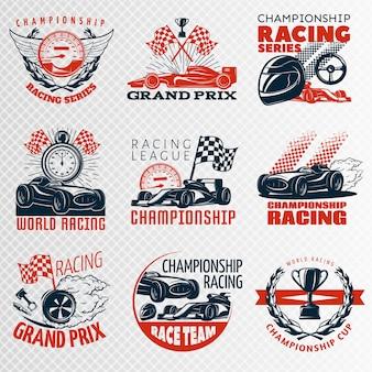 Rennemblem gesetzt in der farbe verschiedene formen mit beschreibungen meisterschaft rennrennen liga grand prix vektor-illustration