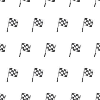 Rennen flagge nahtloses muster auf weißem hintergrund. rennthema-vektor-illustration