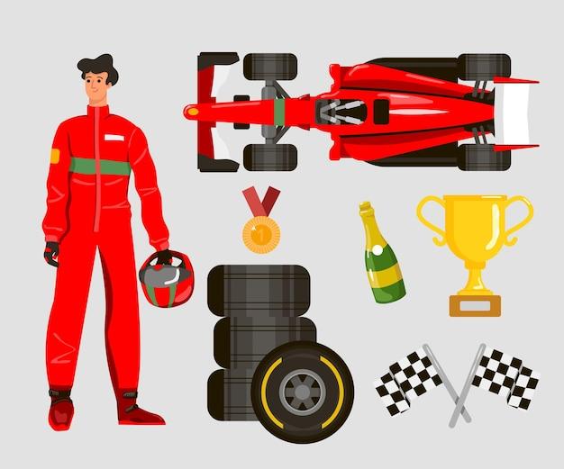 Rennfahrer-cartoon-charakter-illustrationen-set
