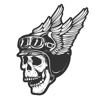 Rennfahrerschädel im geflügelten helm auf weißem hintergrund. element für emblem, poster, t-shirt. illustration