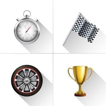 Rennsport icons set