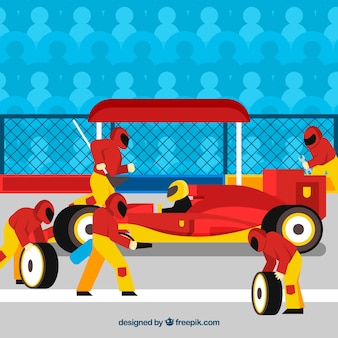 Rennwagen boxenstopp arbeiter