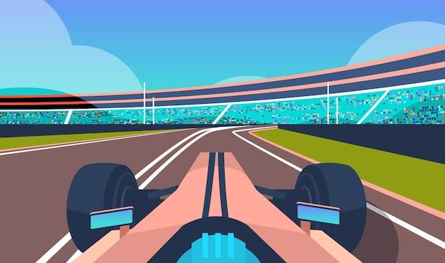 Rennwagen fahren straße online-plattform videospiel konzept computerbildschirm horizontale vektor-illustration