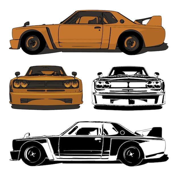 Rennwagen farb- und schwarzweißabbildung schlanke grafik