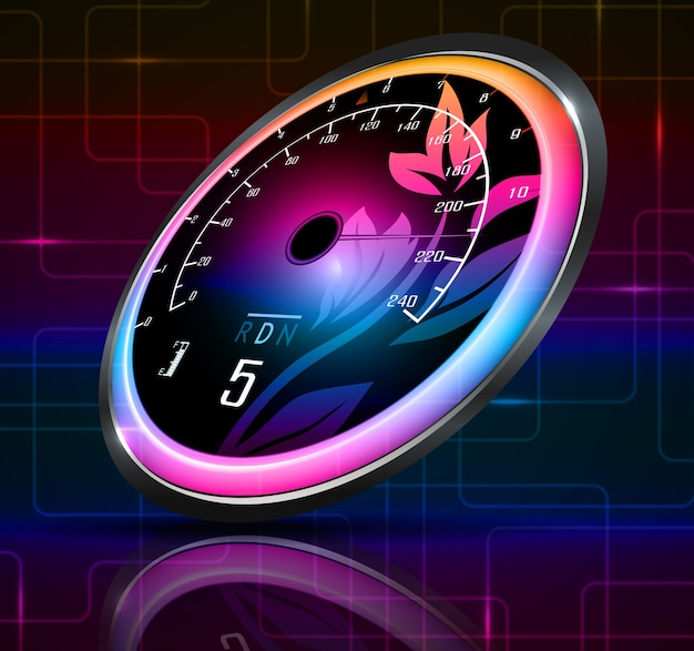 Rennwagen geschwindigkeitsmesser mit abstraktem hintergrund