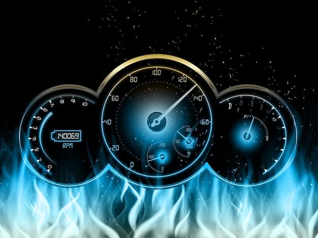 Rennwagen geschwindigkeitsmesserdesign mit im feuer auf blauer flamme
