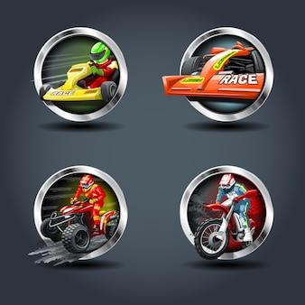 Rennwagen und motorrad-set