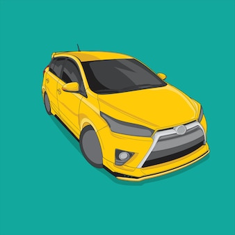 Rennwagenfarbe gelb auf grünem hintergrund Premium Vektoren