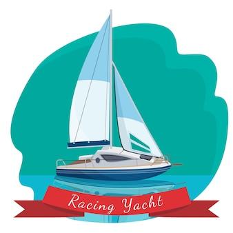Rennyacht mit segeln, die in der meervektorillustration treiben, die auf blauem hintergrund lokalisiert wird. reisen auf dem seeweg-konzept. modernes segelboot realistisches design