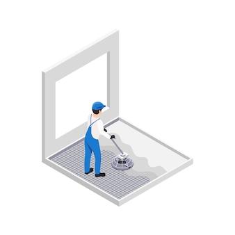 Renovierungsreparaturarbeiten isometrische zusammensetzung mit dem charakter des handwerkers, der beton auf den boden gießt