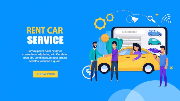 Rent car mobile service. landing page web template mit happy people driving und share vehicle für die autofahrt. gelbe taxi-transport-suchlösung auf beweglichem tablet