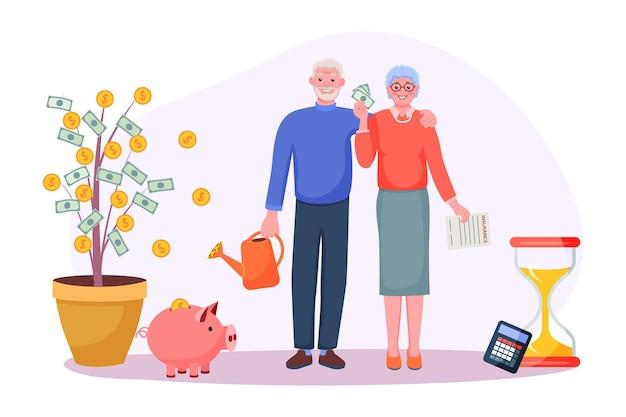 Rentenspargeldanlage in altersvorsorgefonds. älteres großelternpaar spart finanzen für die zukunft, erhöht den gewinn, berechnet das budget und schließt die vektorillustration des versicherungsformulars ab