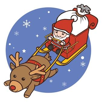 Rentier, das weihnachtsmann-karikatur auf himmel zieht