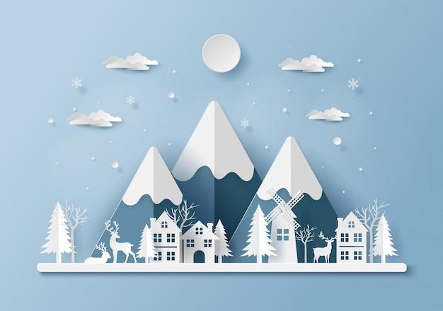 Rentier im dorf, frohe weihnachten