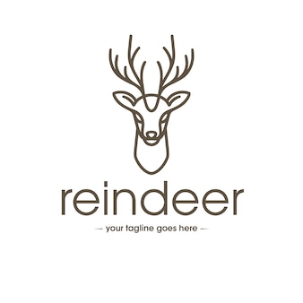 Rentier linie kunst logo vorlage
