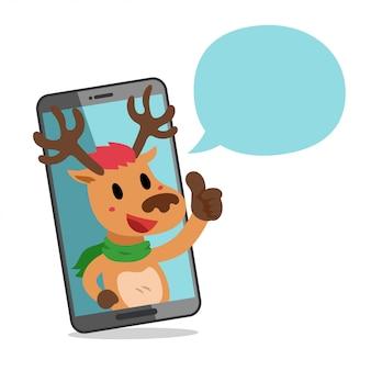 Rentier mit smartphone und sprechblase