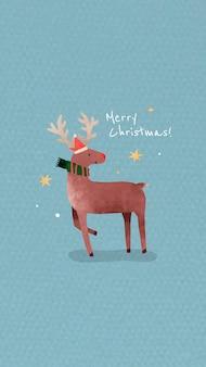 Rentier mit weihnachtsmütze und frohe weihnachtsbotschaft