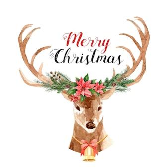 Rentier-weihnachtsaquarell mit blumenstrauß auf dem geweih.