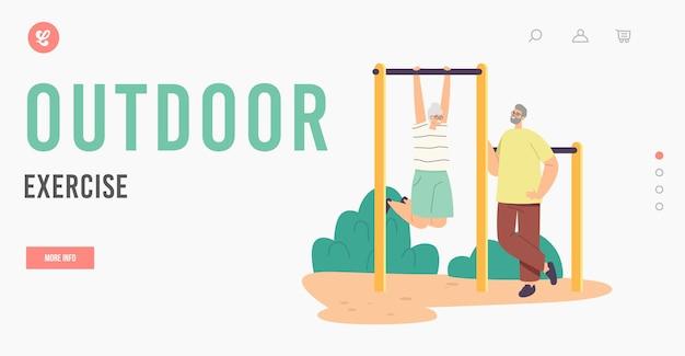 Rentner outdoor-übungen, aktivität und sport-landing-page-vorlage. ein paar ältere charaktere, die auf horizontaler bar trainieren, spaß für alte leute, fitness gesunder lebensstil. cartoon-vektor-illustration
